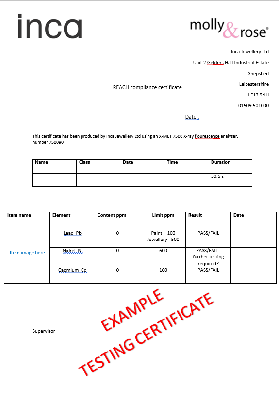 REACH Testing Certificate Example