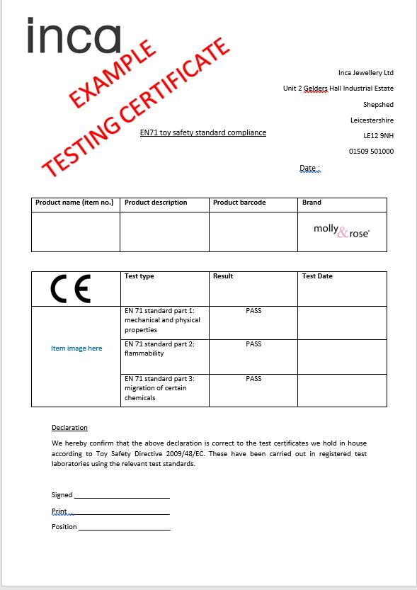 EN71 Example Testing Certificate