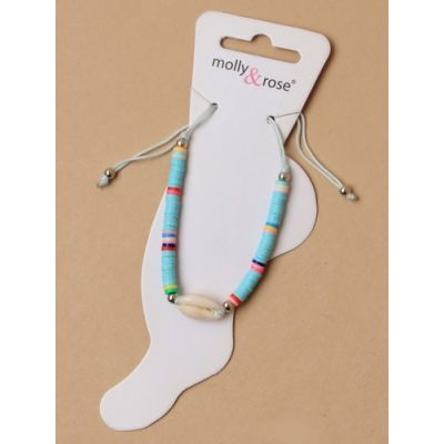 Adjustable beaded anklet with shell charm.