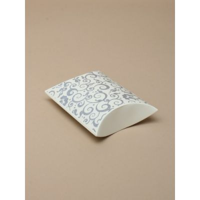 Size: 8.5x8x3cm Cream with silver swirl pillow pack box.