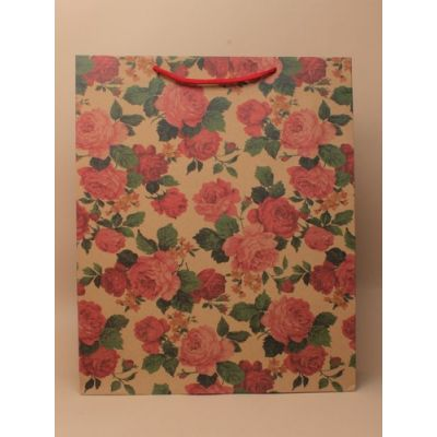 Size: 39x32x10cm Brown paper floral print gift bag.