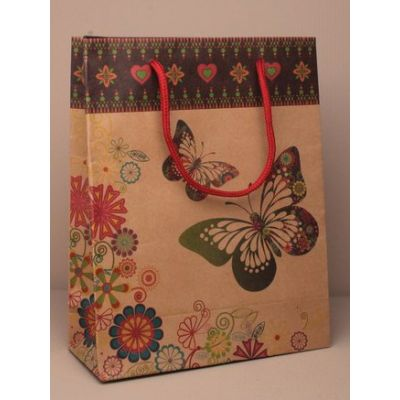 Size: 24x19x8cm Butterfly and floral print gift bag.