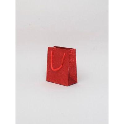 Size: 11x9x5cm Red glitter gift bag.