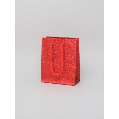 Size: 15x12x6cm Red glitter gift bag.