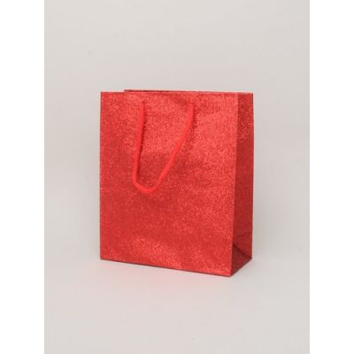 Size: 21x18x8cm Red glitter gift bag.