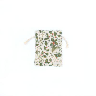 Size: 12x9cm Holly print cotton rich gift bag.