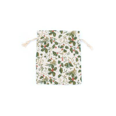 Size: 16x14cm Holly print cotton rich gift bag.