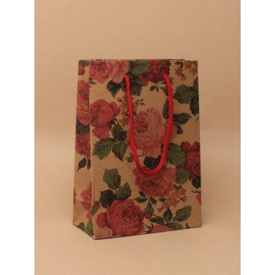 Size: 20x15x6cm Floral print gift bag.