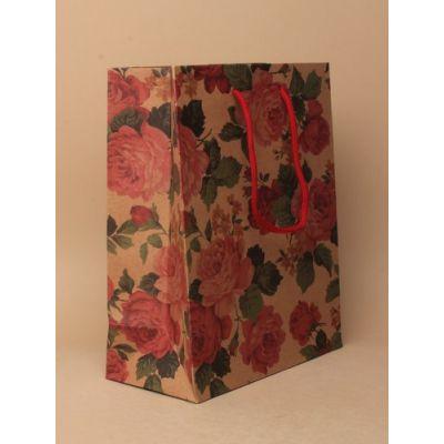 Size: 24x19x8cm Brown floral print gift bag.