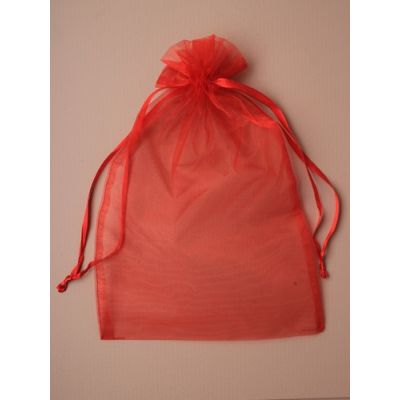 Size: 30x21cm  Red organza gift bag.