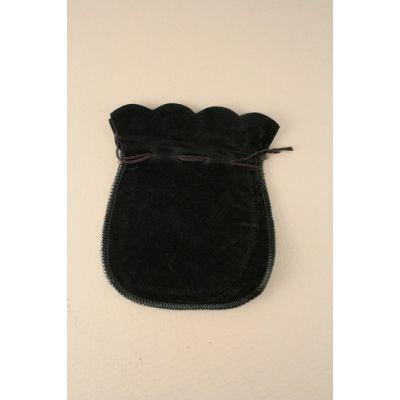 Size: 12x10cm Black flocked velvet pouch.