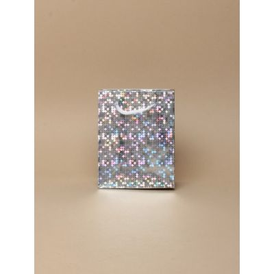 Size: 10x8x6cm Silver Holographic gift bag.