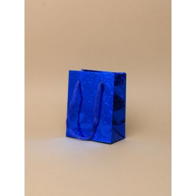 Size: 10x8x6cm Blue Holographic gift bag.
