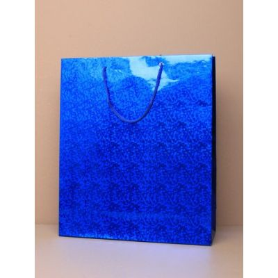 Size: 27x23x7cm Blue Holographic gift bag.