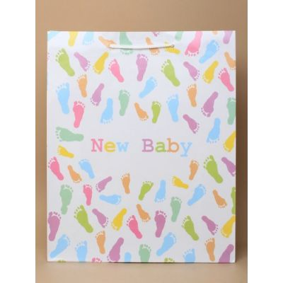 Size: 32x26x10cm Footprints 'New Baby' gift bag.