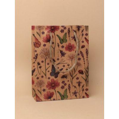 Size: 20x15x6cm Wild flower print kraft paper gift bag.