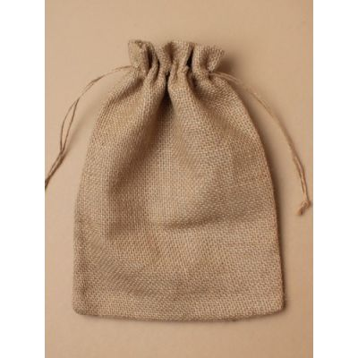 Size: 25x18cm Natural sack cloth gift bag.