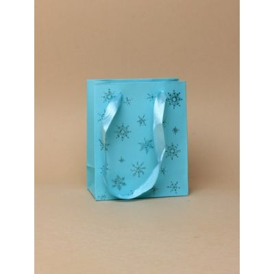 Size: 11x9x5cm Turquoise snowflake glitter gift bag.