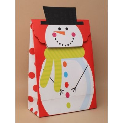 Size: 27x19x9cm Snowman velcro gift box.