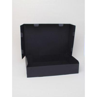 Size: 30x22x6cm Black printed fold flat box. Fast assembly.