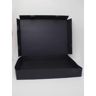 Size: 40x30x6cm Black printed fold flat box. Fast assembly