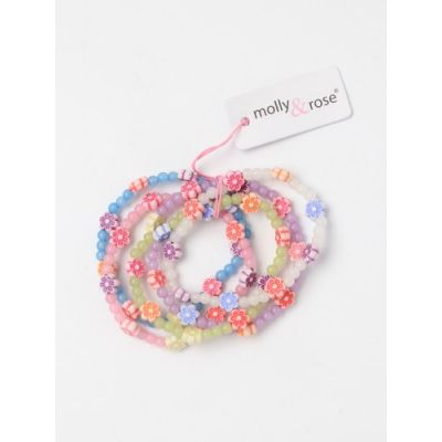 Pack of 5 Frosted Beads and Daisy Bracelets