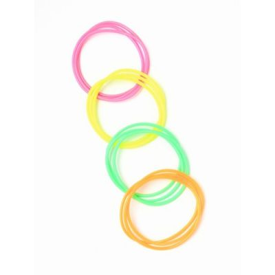 Card of 12 neon coloured gummy bangles.