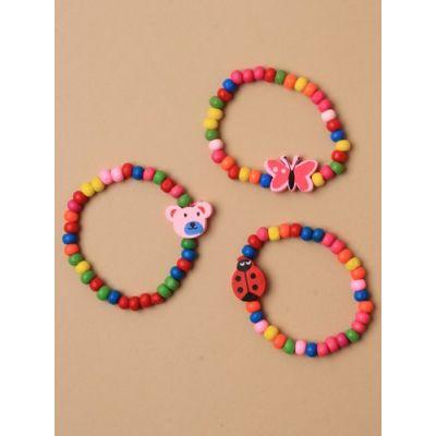 Card of 2 Childsize wooden bead stretch bracelets.