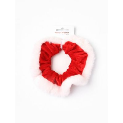 Bright red velvet Christmas scrunchie.