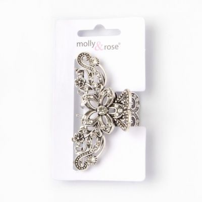 Vintage style silv crystal flower clamp 7.5cm
