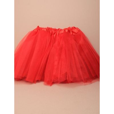 Child size red net tutu. Waistband 15-28""