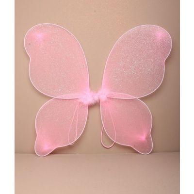 Pink net glitter fairy wings 40x36cm