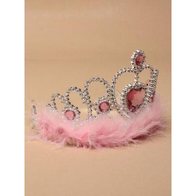 Silv Plastic tiara with feather trim.