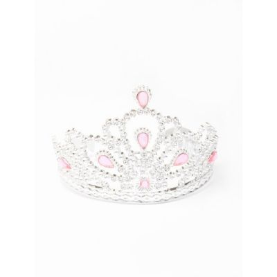 Silv Plastic tiara with pink stones