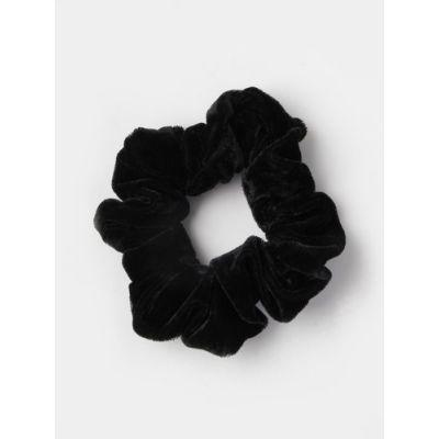 Regular - Black velvet fabric scrunchie. Dia.10cm