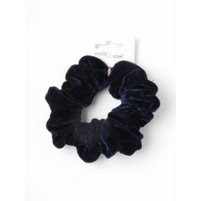 Regular - Navy velvet fabric scrunchie. Dia.10cm