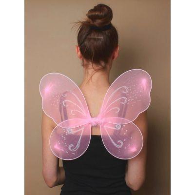 Pink net fairy wings  39x32cm