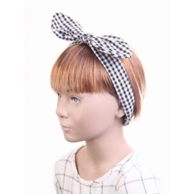 Gingham check bandeau with bow