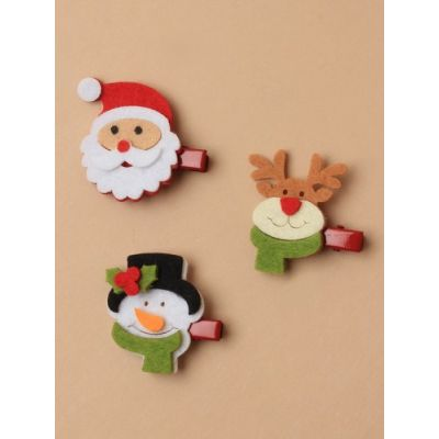 Christmas assorted character felt beak clips on a clip strip