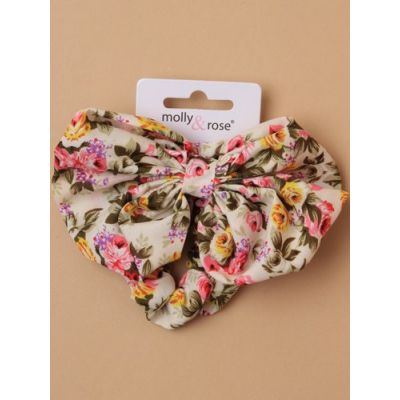 Small - Floral print scrunchie with matching bow.
