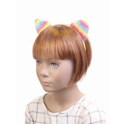 Sparkly rainbow cat ears on an aliceband