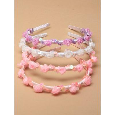 Ribbon aliceband with rosebud detail