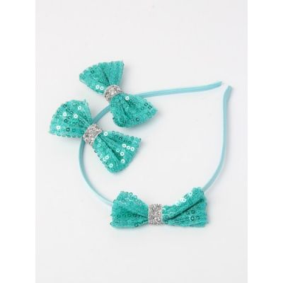 Sequin bow aliceband set with 2 clips.