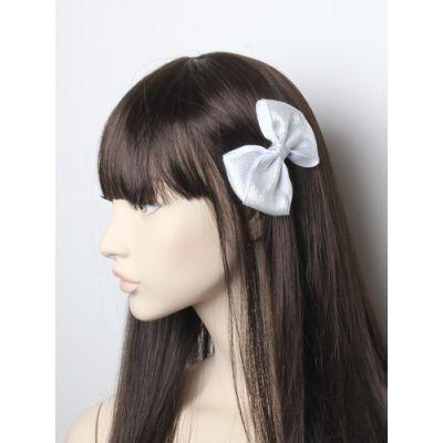 Glitter fabric bow on a beak clip 10cm