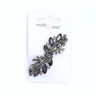 Silv barrette clip with crystal stones 6.5cm