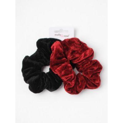 Large - Card of 2 velvet scrunchies. 1 Black + 1 colour per card. Dia.12cm