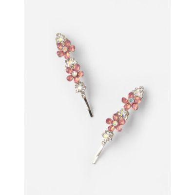Card of 2 beaded resin flower grips 6cm