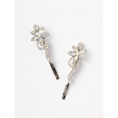 Card of 2 floral design crystal stone grips. 6cm