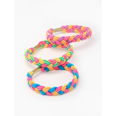 Plaited elastics - Brights - 1cm thick - Card of 2