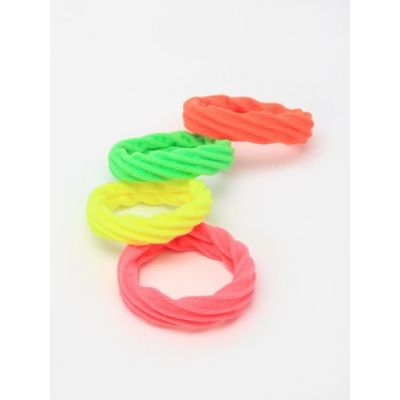 Textured elastics - Neon mix - 1cm thick - Card of 4
